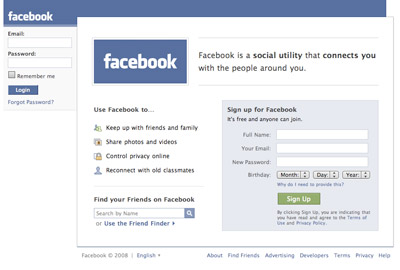 A picture of the Facebook web site