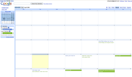 A picture of Google Calendar's Month view