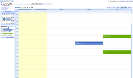 A picture of Google Calendar's Next 4 Days view
