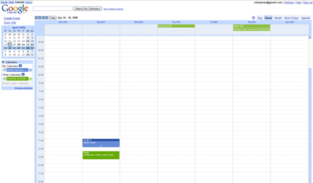 A picture of Google Calendar's Week view