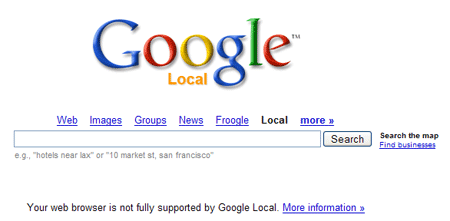 A picture of the Google Maps redirect page if JavaScript is turned off