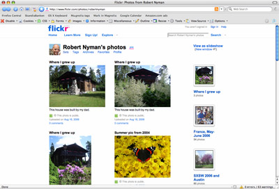 A picture of my Flickr start page