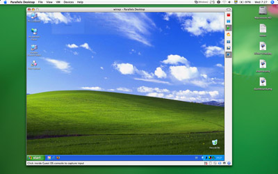 A picture of Paralles Desktop for Mac running Windows