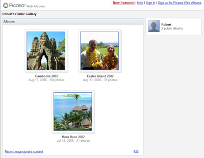 A picture of my start page in Picasa Web Albums