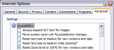 A picture of the Internet Options dialog in Internet Explorer 7