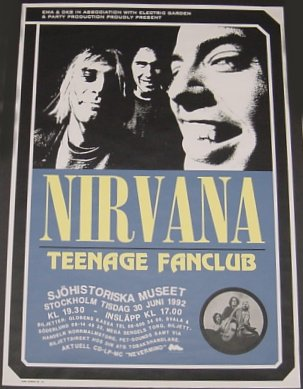 A picture of the poster for Nirvana's gig in Sweden 1992