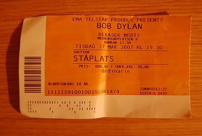 A picture of my ticket to the Bob Dylan club gig