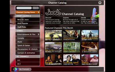 A picture of the Joost Channel Catalog