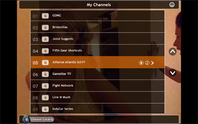 A picture of the My Channels view in Joost
