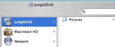 A picture of the Finder with Jungle Disk on Mac