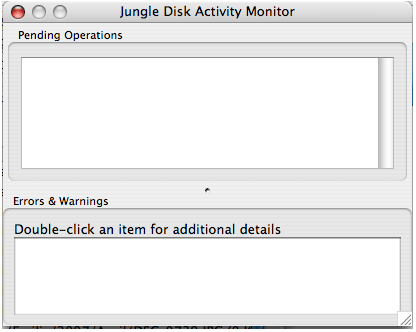 A picture of the Jungle Disk Activity Monitor on Mac