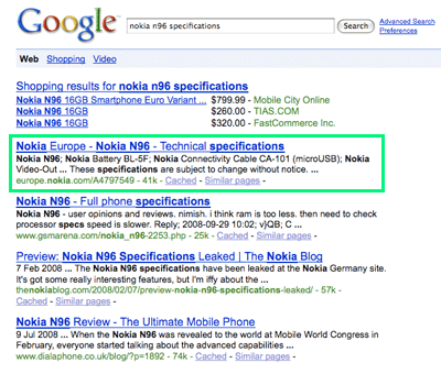 A picture of the Google search results for the search 'nokia n96 specifications'. The first link goes the Nokia web site.