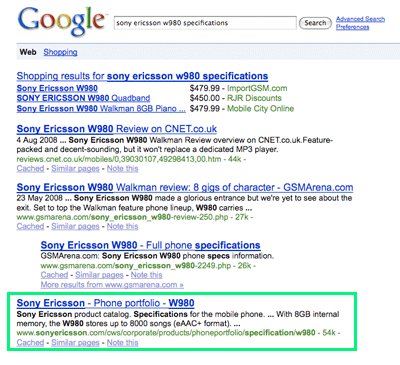A picture of the Google search results for the search 'sony ericsson w980 specifications'. The first link goes to the CNET web site, the second and third to the GSMArena web site, and the fourth to Sony Ericsson.