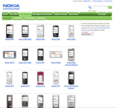 A picture of the Nokia products page, with JavaScript disabled. All cell phone models are clearly listed, with picture and text; looks a bit different from the JavaScript version