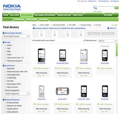 A picture of the Nokia products page