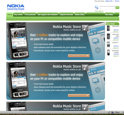 A picture of the Nokia start page, with JavaScript disabled. Everything works, but it has some different content and layout.