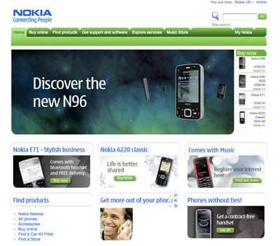 A picture of the Nokia start page