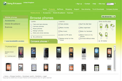 A picture of the Sony Ericsson products page