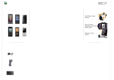 A picture of the Sony Ericsson start page, with JavaScript disabled. Onlu sporadic patches of content is visible.