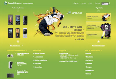 A picture of the Sony Ericsson start page