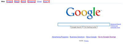 A picture of the Google start page with red borders around elements with inline events