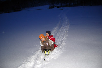A picture of the children playing in the snow