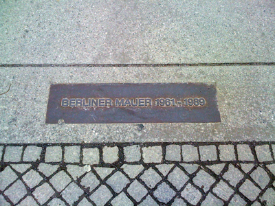 A picture of a Berlin Wall plaque