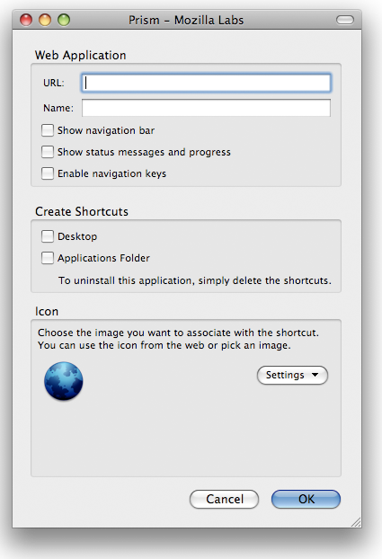 A picture of the Prism application creation dialog