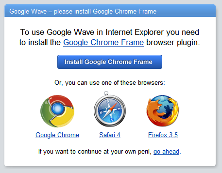 A picture of Google Wave for Internet Explorer visitors
