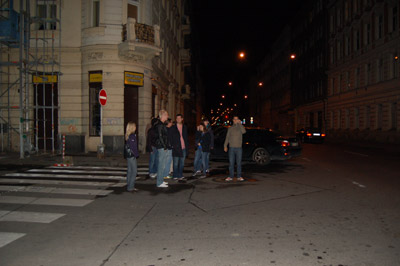 A picture of Mozillians looking for a good place to get dinner