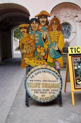 A picture of the the billboard for the non-verbal performance of Beatles' Yellow Submarine