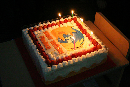 A picture of a birthday cake for Firefox's 5th birthday