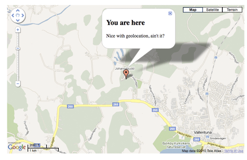 A picture of using geolocation to find out the current location of the user and display it with Google Maps