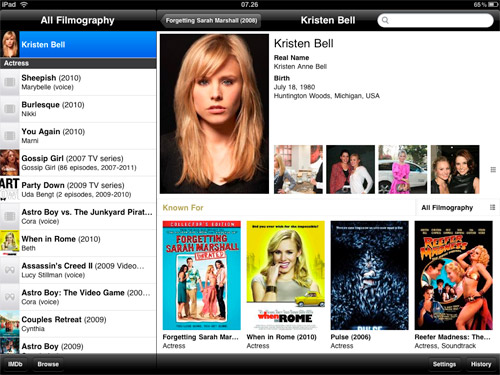 A picture of the IMDB application
