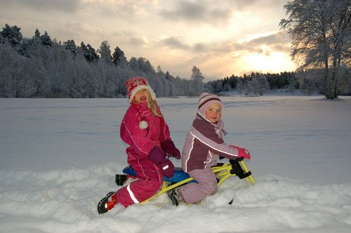 A picture of children on a snow racer