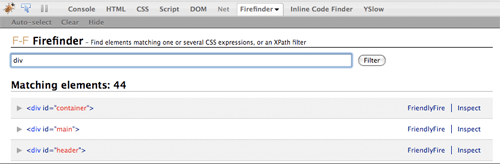 A picture of Firefinder for Firebug with its result list