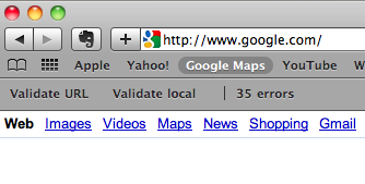 A picture of errors in the HTML Validator in Safari